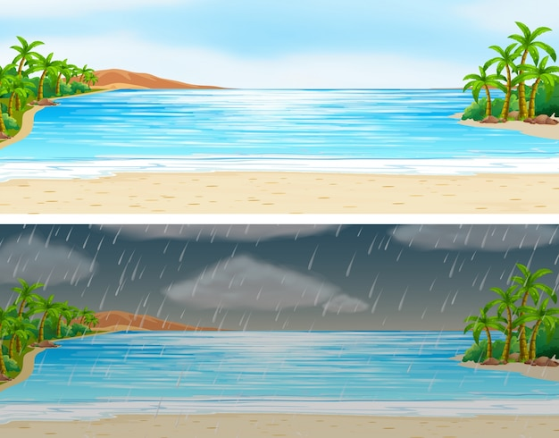 Two scenes of ocean on sunny and rainy\ days