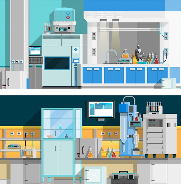 Two science laboratory horizontal banners Free Vector