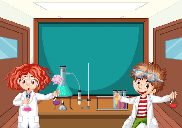 Two science students working in lab at school Free Vector