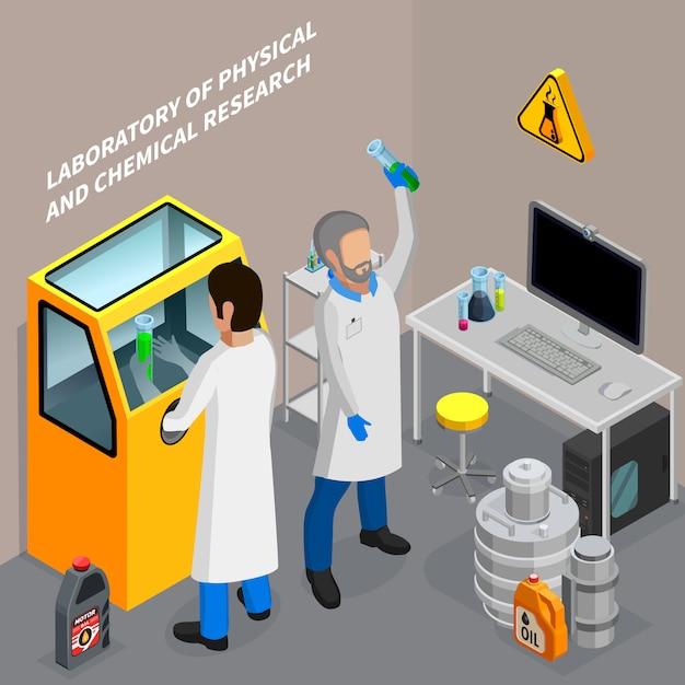 Два ученых, исследующих нефть в химической лаборатории 3d изометрические векторная иллюстрация Бесплатные векторы