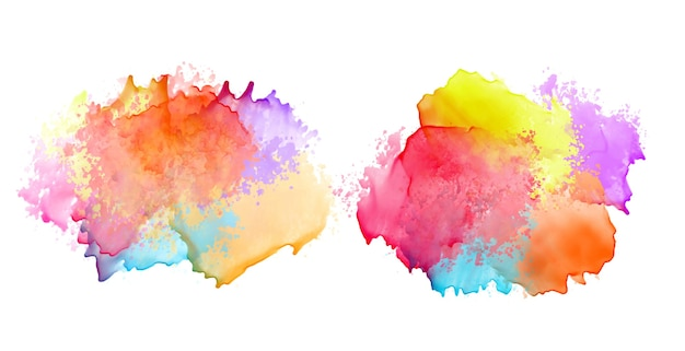 Two set of colorful watercolor splash banners design Free Vector