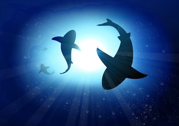 Две акулы в подводном фоне Premium векторы