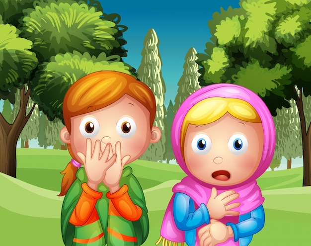 The two shocked girls at the park Free Vector
