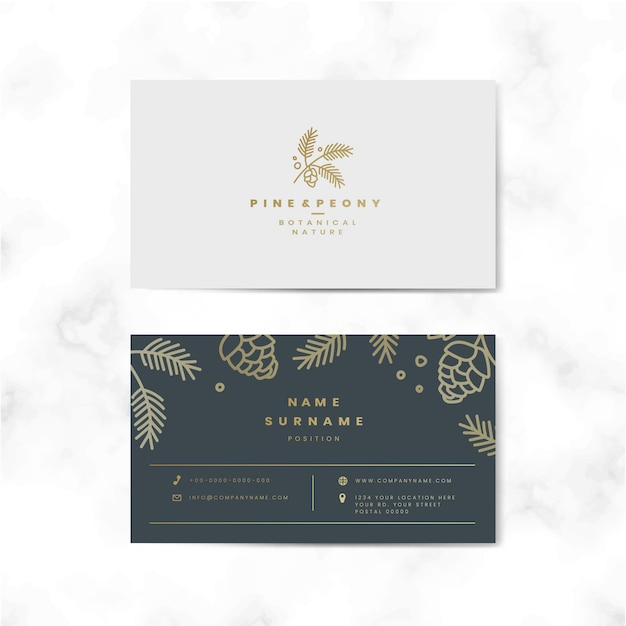 Two sided floral name card vector Free Vector