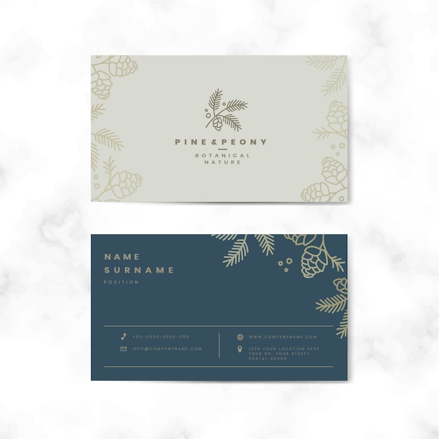 Two sided floral name card Free Vector