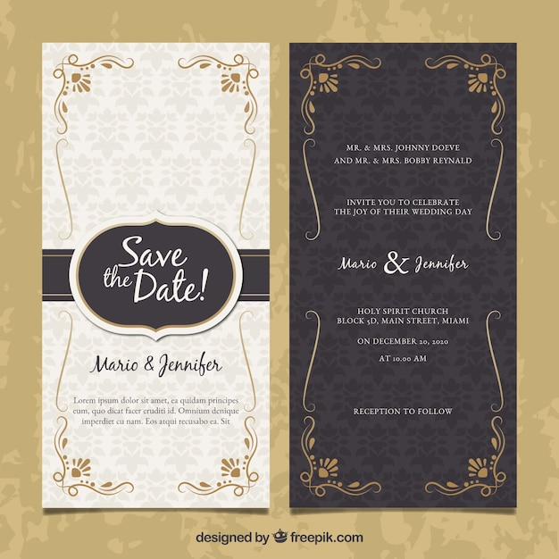 Two Sided Wedding Invitation In Vintage Style Free Vector