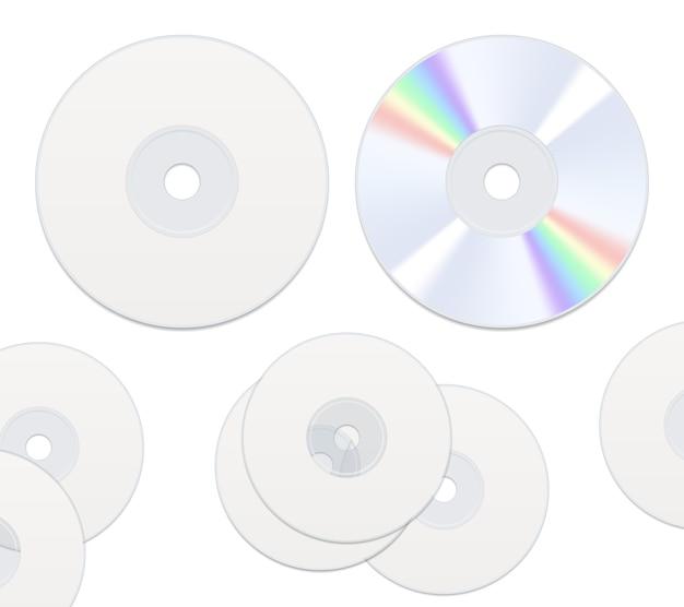 Изолированные компакт-диски с двух сторон Бесплатные векторы
