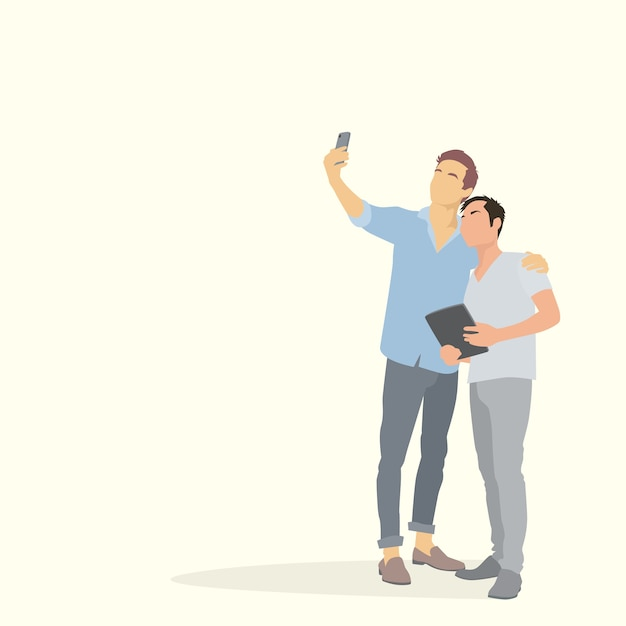 Two silhouette men taking selfie photo Premium Vector