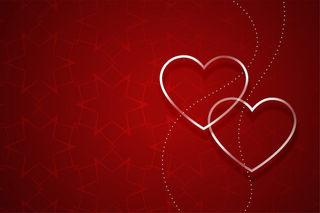 Two silver hearts on red valentines day background Free Vector
