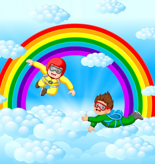Two skydivers are flying in the sky Premium Vector