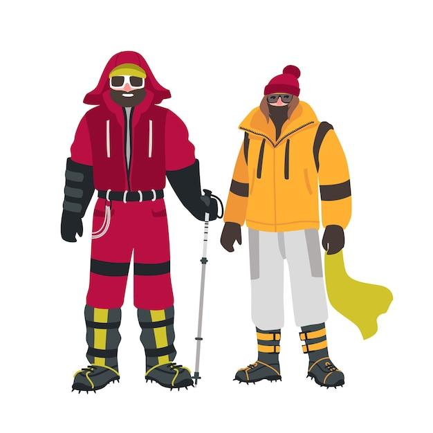 白で隔離された暖かい服装で、特別な機器を持つ2人の笑顔の登山家またはアルピニスト Premiumベクター