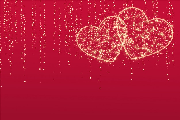 2 Sparkling Hearts on Red Background Free Vector