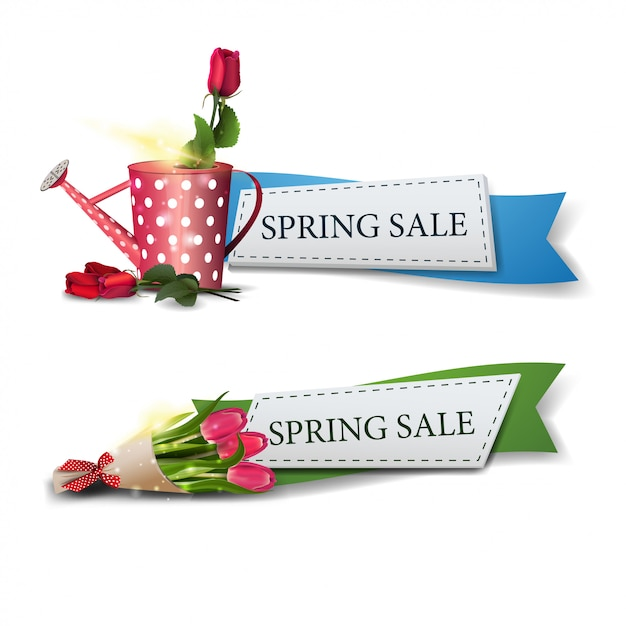 Two spring sales banners with bouquet of tulips and rose Premium Vector