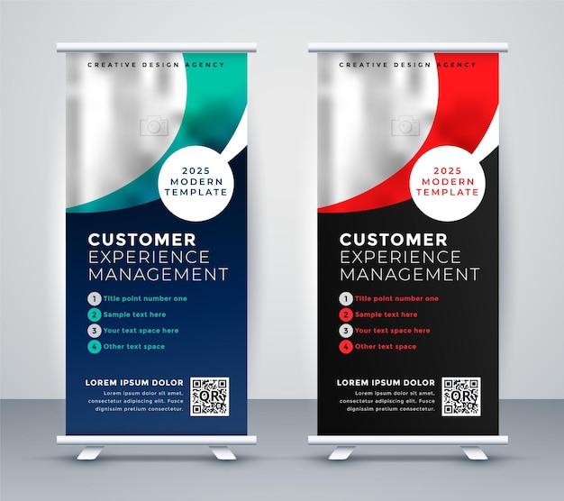Modello di presentazione banner roll up due persone in piedi Vettore gratuito