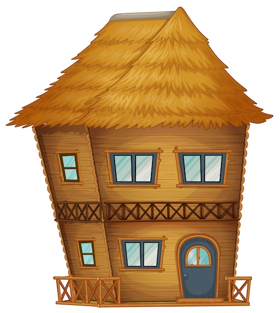 Two stories hut made of bamboo Premium Vector