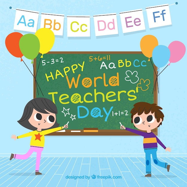 Two students and a blackboard, world teachers ' day