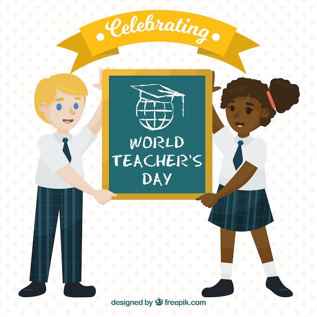 Two students celebrating world teachers ' day