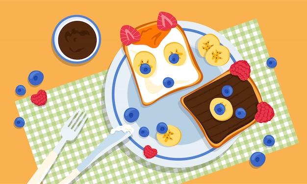 2つのおいしいキツネとクマの形のトースト。バナナ、ラズベリー、ブルーベリー、ピーナッツバター、愛情のある創造的な子供たちの両親が作った蜂蜜。うるさい食事の問題。子育ての課題。 Premiumベクター