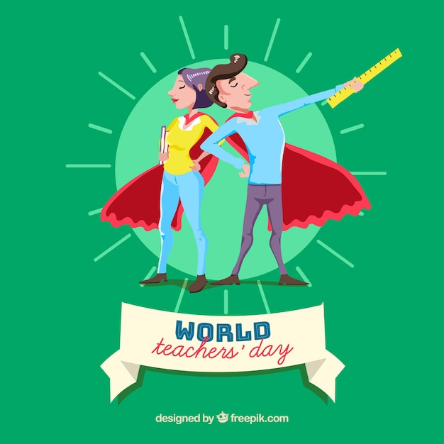 Two teachers superheroes in red cloaks