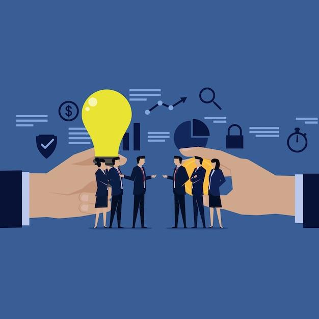 Two team of businessman negotiating sell buy idea money. Premium Vector