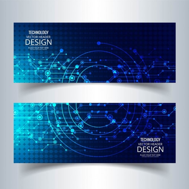 Two technological banners, blue color Free Vector