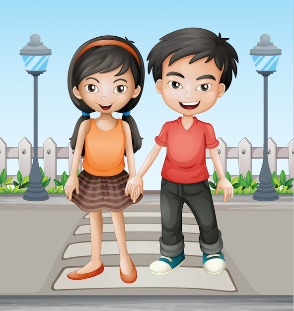 Two teenager holding hands together Free Vector