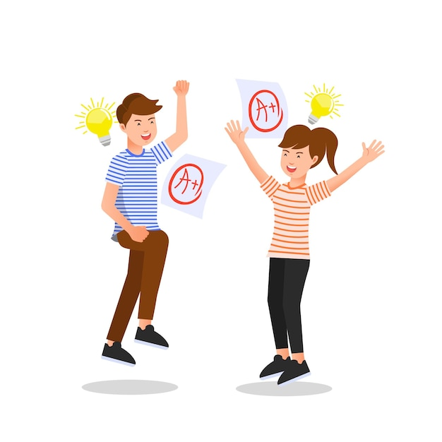 Two teenagers got the best grades on the exam Premium Vector
