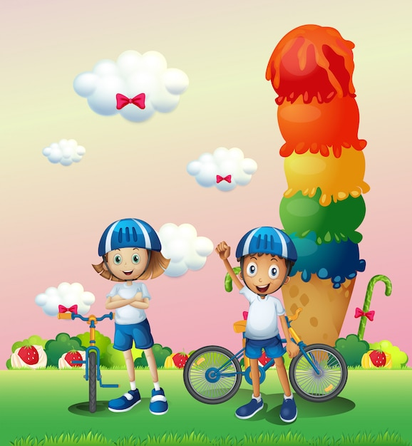 Two teenagers in a land full of sweets Free Vector