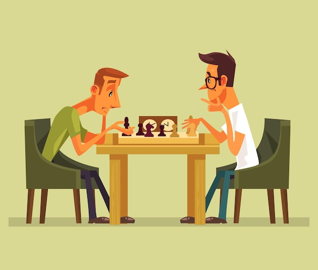 Two thinking smart players man characters playing chess. Premium Vector