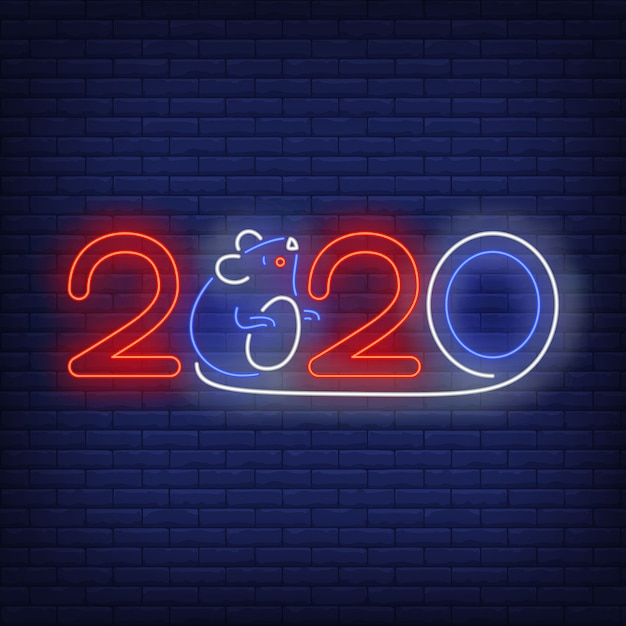 Two thousand and twenty and mouse neon sign Free Vector