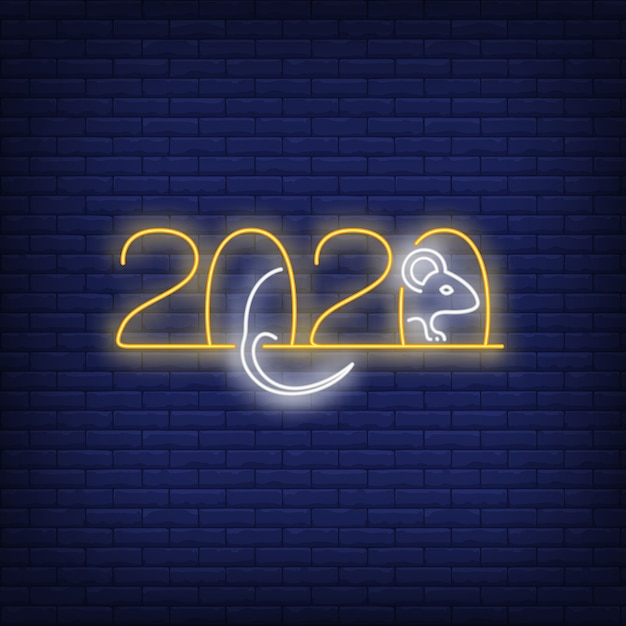 Two thousand twenty neon sign with rat Free Vector