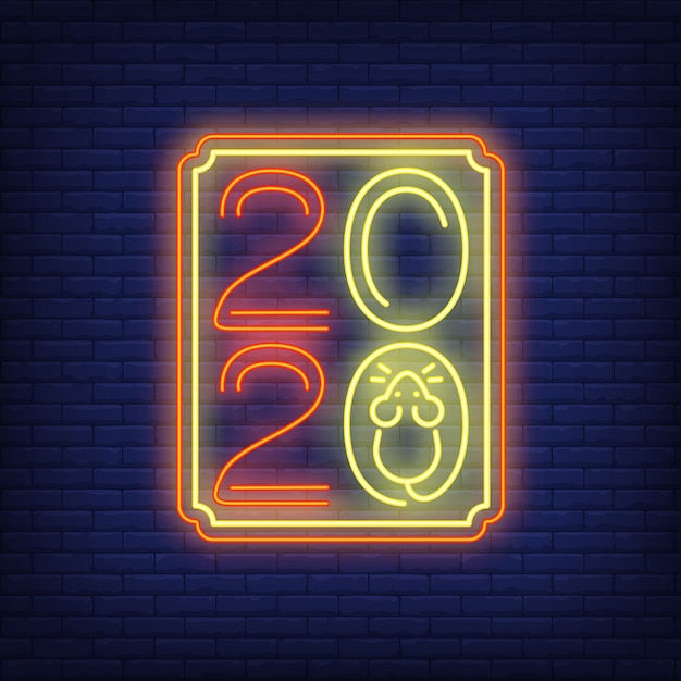 Two thousand twenty neon sign Free Vector