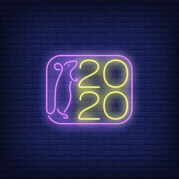 Two thousand twenty new year neon sign Free Vector