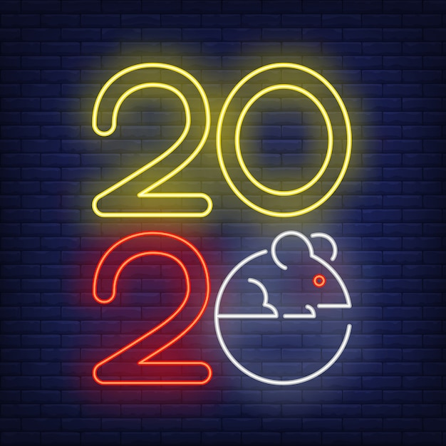 Two thousand and twenty year with mouse neon sign Free Vector