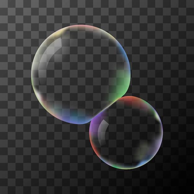 Two transparent soap bubbles without background Premium Vector