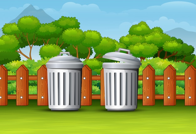 Two trash can in a clean park Premium Vector