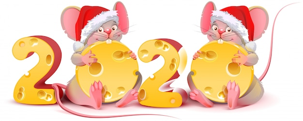 Two twin mice are holding cheese Premium Vector