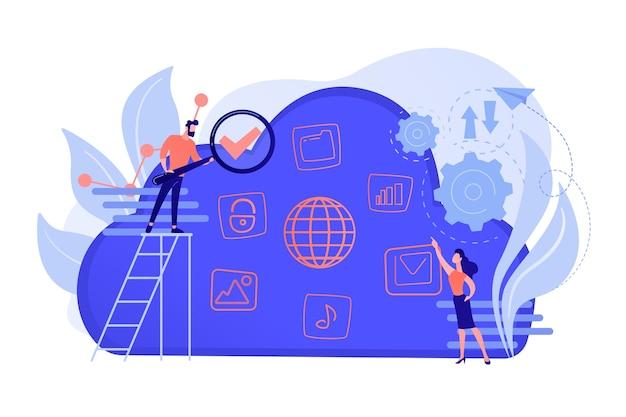 2人のユーザーがクラウドでビッグデータを検索します。コンピューティングストレージテクノロジー、大規模データベース、データ分析、デジタル情報の概念。ベクトル分離イラスト。 無料ベクター