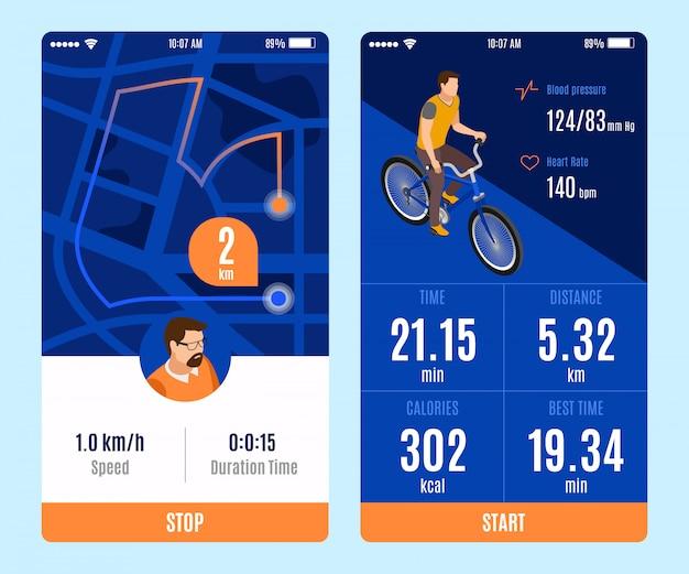 自転車の2つのバリアントに乗る開始停止ボタンと継続時間時間距離カロリー速度パラメーター等尺性ベクトル図とモバイルアプリのデザイン 無料ベクター
