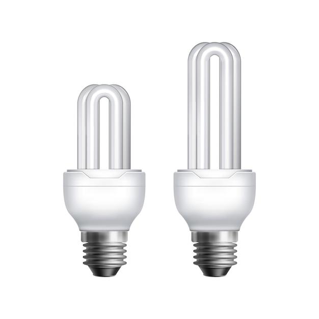 白い背景の上の2つのベクトルコンパクト蛍光省エネランプ 無料ベクター