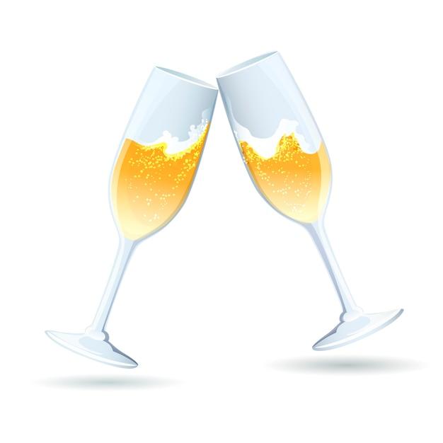 Две векторные флейты с золотым игристым шампанским наклонены друг к другу в тосте и поздравлении с празднованием годовщины свадьбы Бесплатные векторы