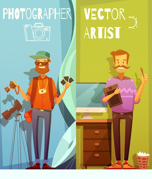 Two vertical cartoon banners with funny photographer and artist standing near equipment Free Vector