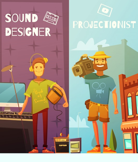 Two vertical cartoon banners Free Vector