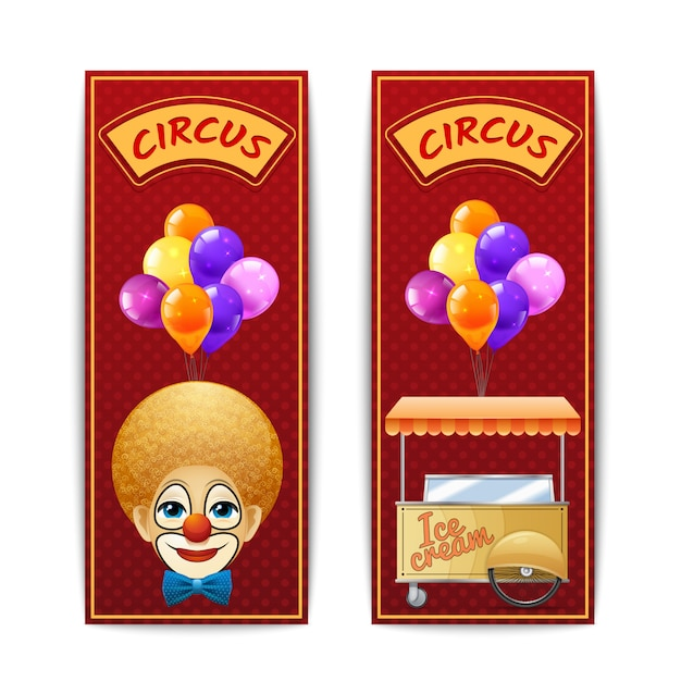 Two vertical circus banners with clown balloons and ice cream cart on the red background Free Vector