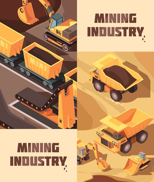 Two vertical mining banners with isometric images of trucks Free Vector