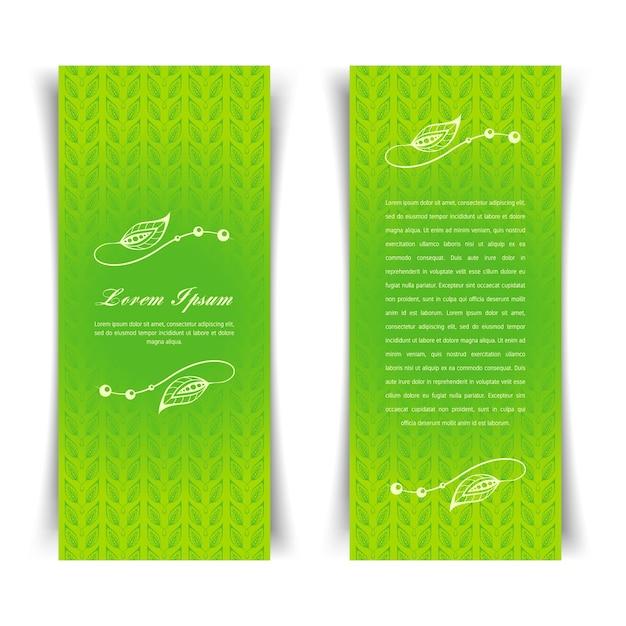 花の要素を持つ2つの垂直ビンテージグリーンカード Premiumベクター
