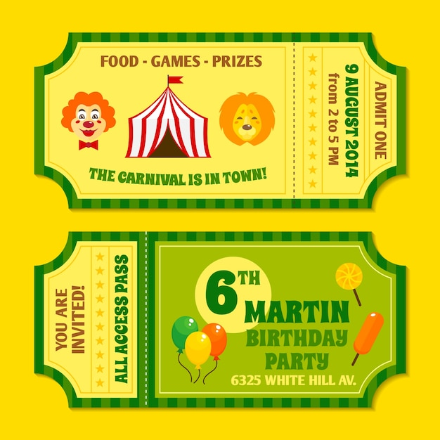 Two Vintage Circus Carnival Birthday Party Invitation Tickets Templates  With Clown And Balloon Isolated Vector Illustration  Food Tickets Template