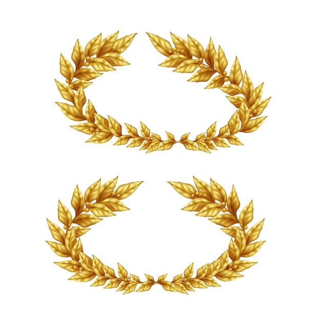 Two vintage golden laurel wreaths isolated on white background in realistic style illustration Free Vector