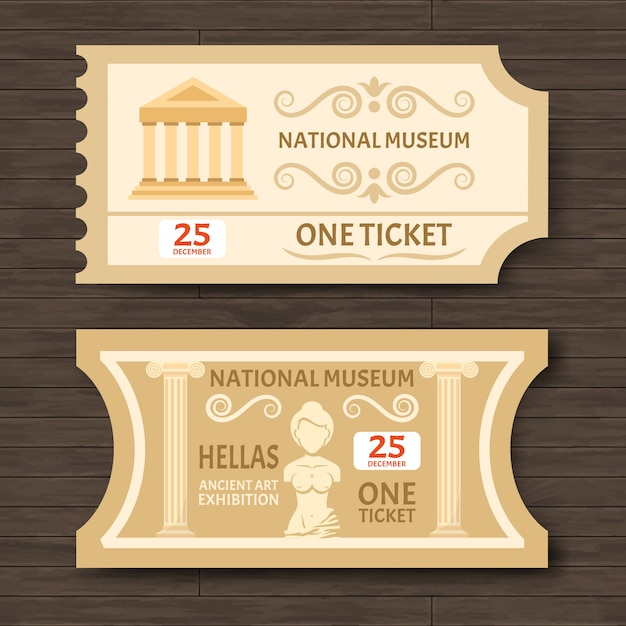 Two vintage museum tickets Free Vector