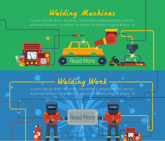 Two welding horizontal banners Free Vector
